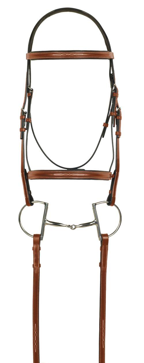 Aramas Fancy Square Raised Padded Bridle w/Fancy Lace Reins - Chestnut