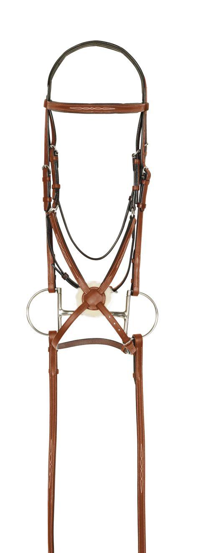 Aramas Fancy Raised Padded Figure-8 Bridle w/Rubber Grip Reins - Chestnut