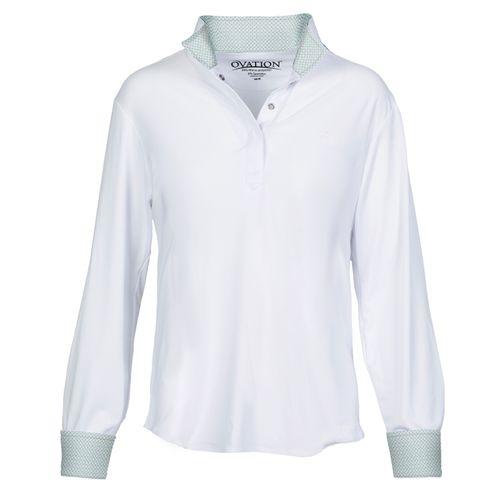 Ovation Kids' Ellie Quarter Snap Show Shirt - White/Geo