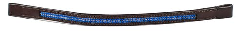 Harmohn Kraft Double Row Royal Crystal Browband - Dark Brown