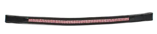 Harmohn Kraft Double Row Pink Crystal Browband - Black