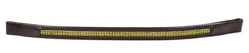 Harmohn Kraft Double Row Lime Crystal Browband - Brown
