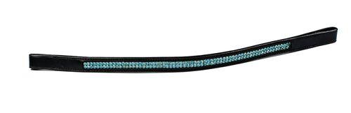 Harmohn Kraft Double Row Turquoise Crystal Browband - Dark Brown