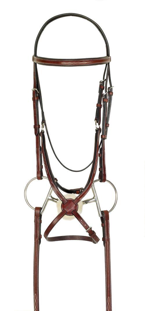 Harmohn Kraft Fancy Raised Padded Figure 8 Bridle w/Fancy Rubber Reins - Oakbark