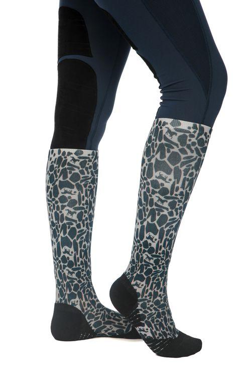 Horseware Technical Sport Sock - Animal Print Navy/Grey