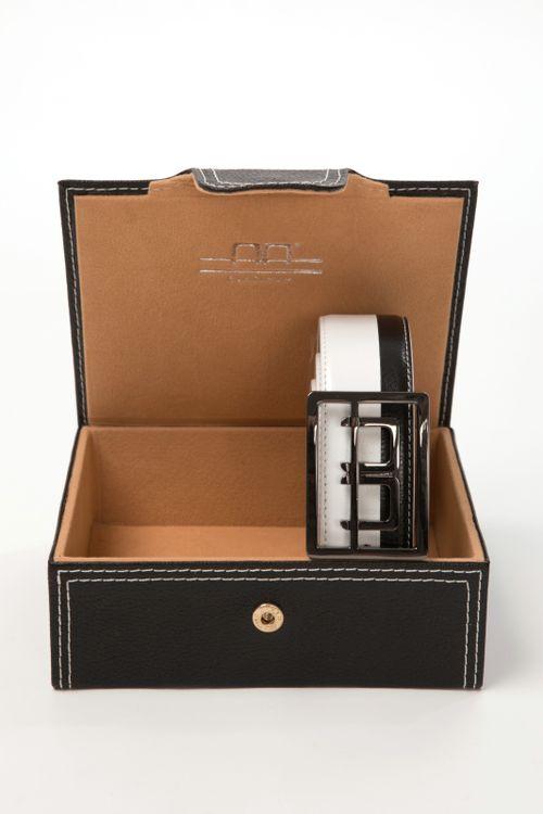 Alessandro Albanese Stripe Belt in Box - Black/White
