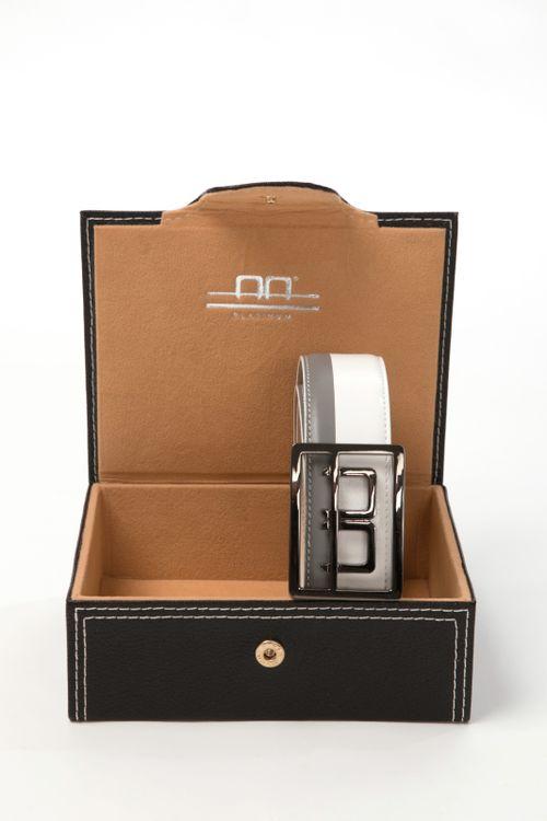 Alessandro Albanese Stripe Belt in Box - Grey/White