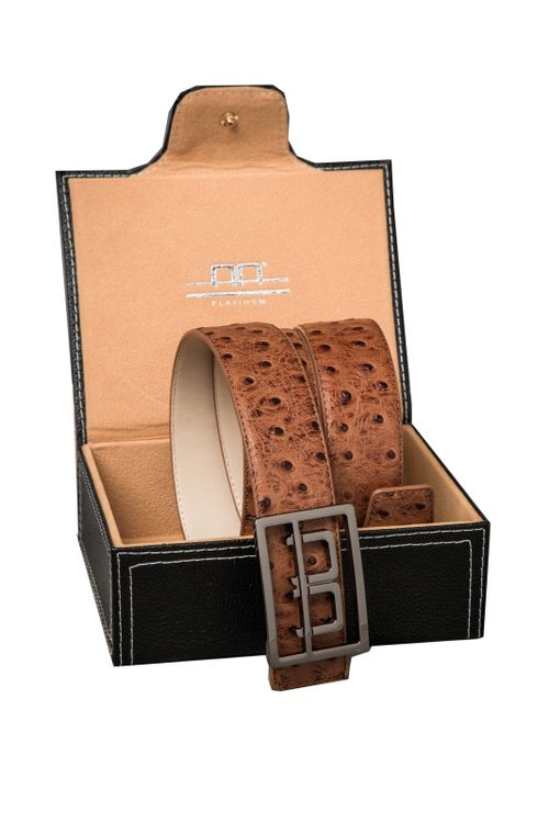 Alessandro Albanese Leather Belt w/Logo Buckle in Box - Tan
