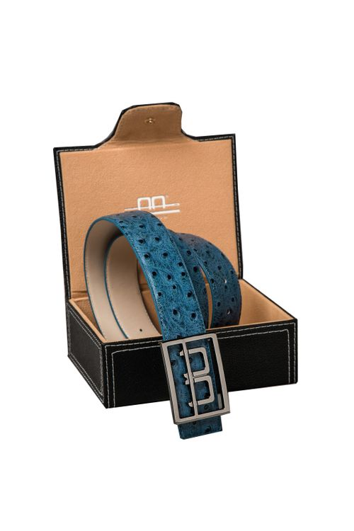 Alessandro Albanese Leather Belt w/Logo Buckle in Box - Aviation Blue