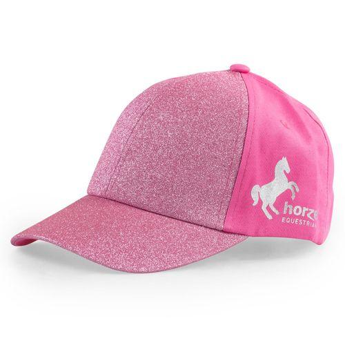 Horze Kids' Glitter Cap - Shocking Pink
