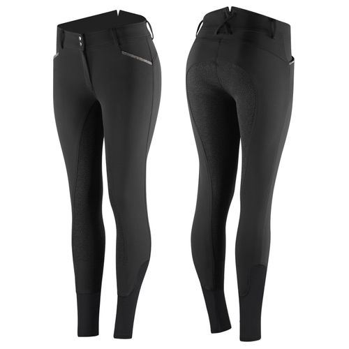 Horze Women's Crystal Detailed Silicone Full Seat Breeches - Black