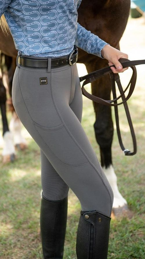 FITS Women's TechTread 2 Pocket Full Seat Pull On Breeches - Ash