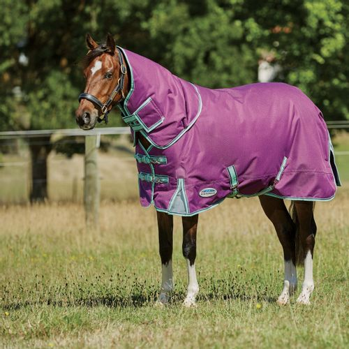 Weatherbeeta Comfitec Premier Freedom Pony Detach-A-Neck Lite - Purple/Navy/Mint