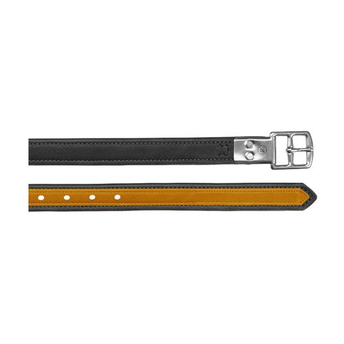 Bates Luxe Leather Stirrup Leathers - Classic Black/Yellow
