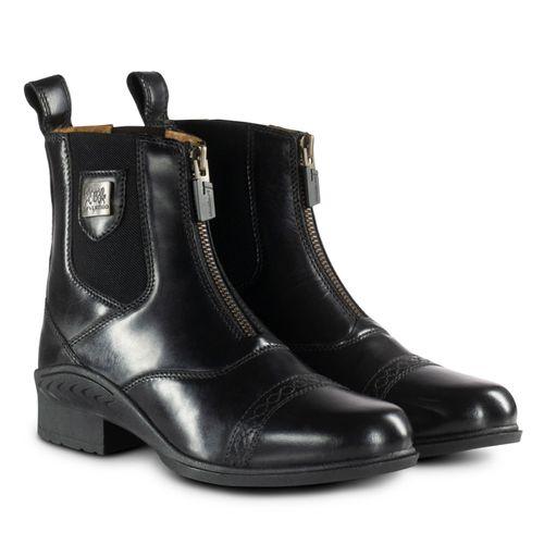 B Vertigo Women's Saturn Front Zip Leather Paddock Boots - Black
