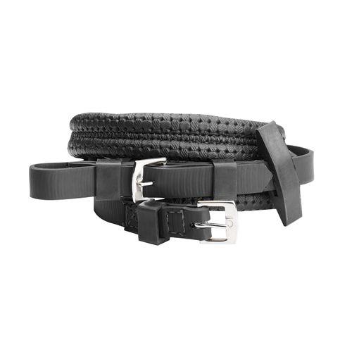 Wintec Equi-Leather Grip Reins - Black