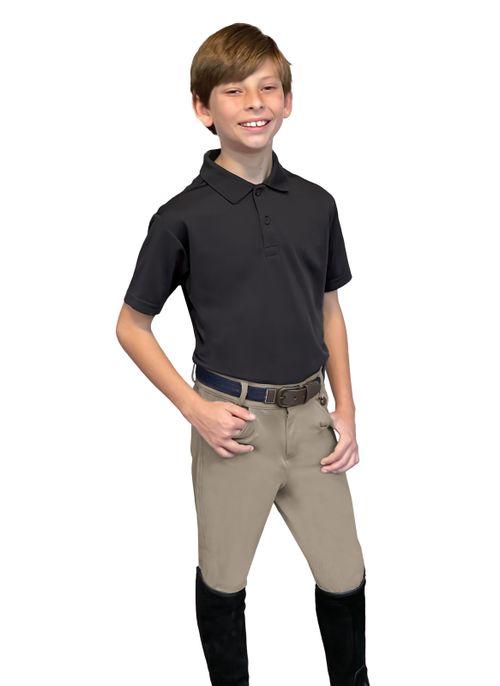Ovation Kids' Softflex 4 Pocket Boys Knee Patch Breeches - Neutral Beige