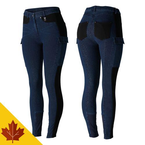 Horze Women's Limited Edition Ivy Full Seat Cargo Breeches - Dark Blue/Black