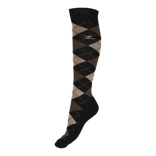 Horze Alana Checked Winter Socks - After Dark Brown/Tan