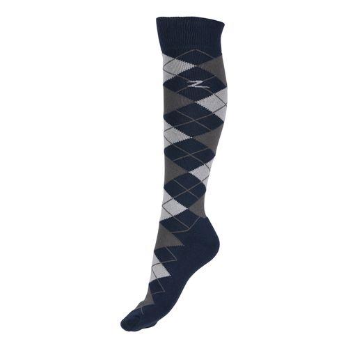 Horze Alana Checked Winter Socks - Dress Blue/Vapor Grey