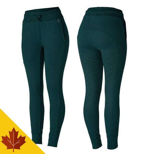 Horze Women's Sara Organic Cotton Tights - Ponderosa Pine Dark Green