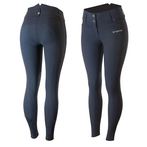 B Vertigo Women's Tiffany Silicone Knee Patch Breeches - Dark Navy