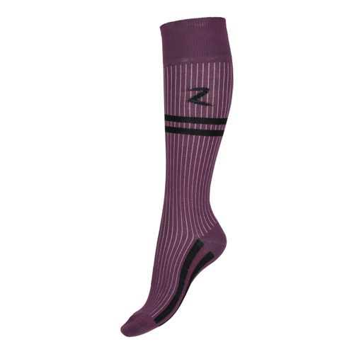 Horze Superstretch Stripe Riding Knee Socks - Eggplant Burgundy/Black