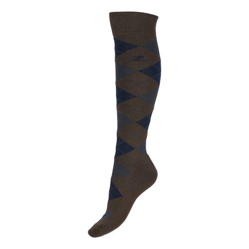 Horze Alana Checked Winter Socks - Chocolate Chip Brown/Dress Blue