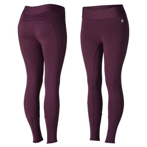 Horze Women's Active Winter Silicone Knee Patch Tights - Eggplant Dark Purple
