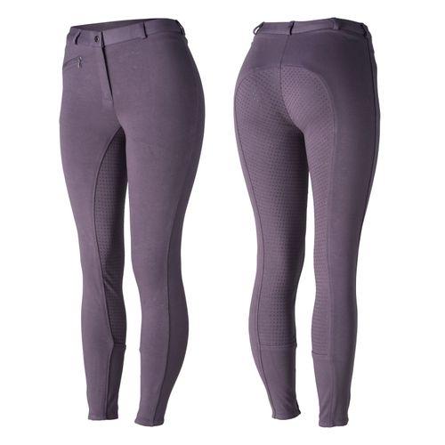Horze Women's Active Full Seat Breeches - Purple Sage