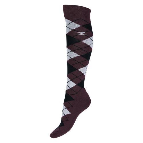 Horze Alana Checked Winter Socks - Eggplant Burgundy/Bright White