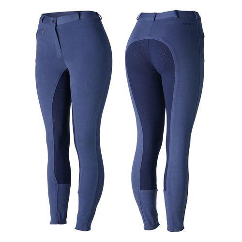 Horze Women's Active Full Seat Breeches - Coastal Fjord Blue/Patriot Blue