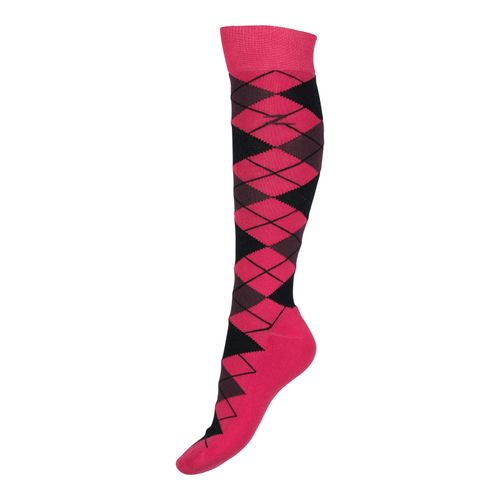 Horze Alana Checked Winter Socks - Virtual Pink/Eggplant Burgundy