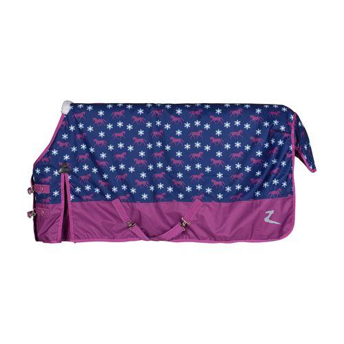 Horze Tucker Pony Turnout Blanket 100g - Arty Purple/Blue Print Dark Blue