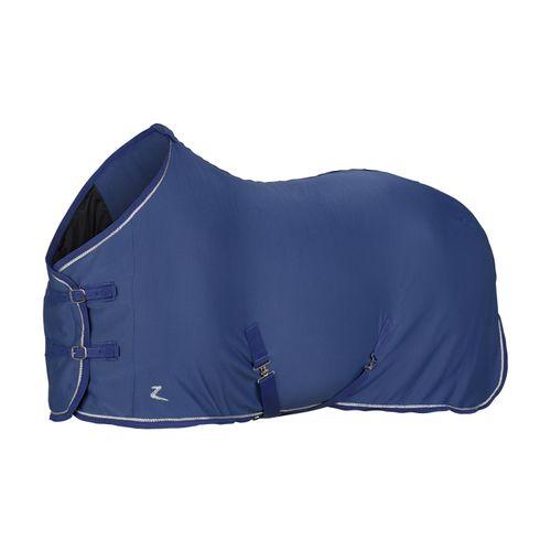 Horze Glarus Fleece Blanket w/ Rose Gold Braid Piping - Marlin Blue