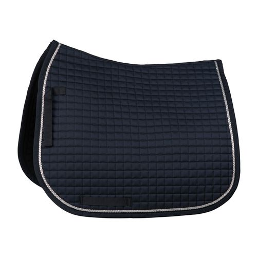 Horze Glarus Quick Dry Dressage Saddle Pad with Rose Gold Braid Piping - Dark Navy
