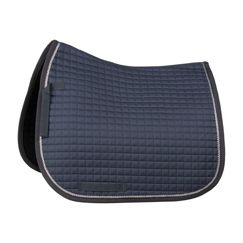 Horze Glarus Quick Dry Dressage Saddle Pad with Rose Gold Braid Piping - Iron Gate Grey
