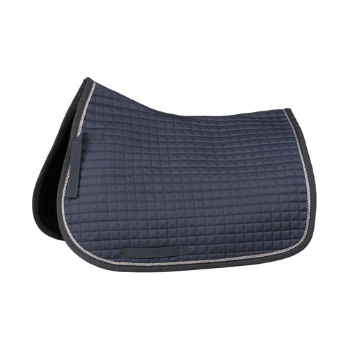 Horze Glarus Quick Dry All Purpose Saddle Pad with Rose Gold Braid Piping - Iron Gate Grey