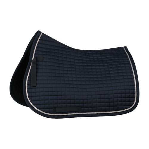 Horze Glarus Quick Dry All Purpose Saddle Pad with Rose Gold Braid Piping - Dark Navy