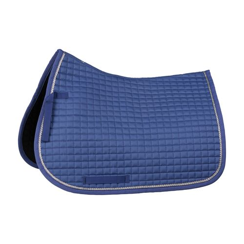 Horze Glarus Quick Dry All Purpose Saddle Pad with Rose Gold Braid Piping - Marlin Blue