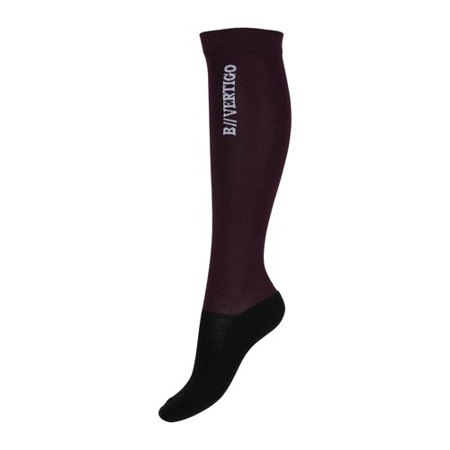 B Vertigo Beryl Wool Bamboo Riding Socks - Fig Wine Red/Black