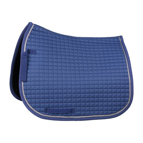 Horze Glarus Quick Dry Dressage Saddle Pad with Rose Gold Braid Piping - Marlin Blue