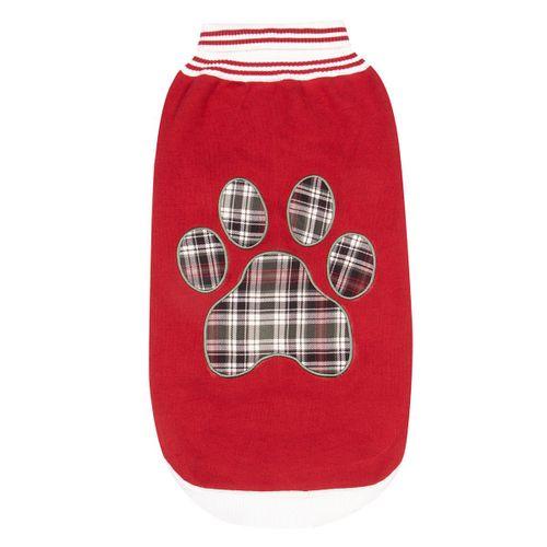 Halo Plaid Paw Dog Sweater - EC Red