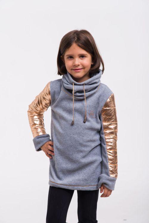 Cavalliera Kids' Rose Gold Riding Sweater - Grey Melange/Rose Gold