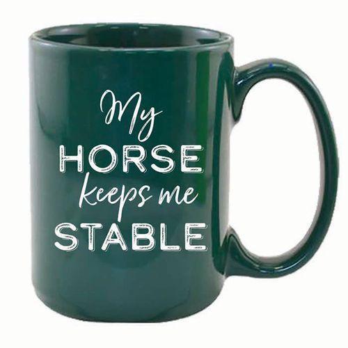 Kelley and Company My Horse Keeps Me Stable Mug - Green