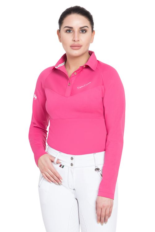 Equine Couture Women's Performance Long Sleeve Polo Sport Shirt - Hot Pink