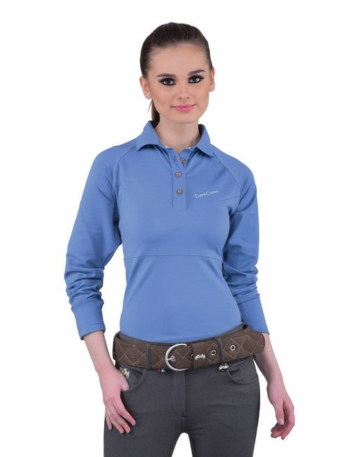 Equine Couture Women's Performance Long Sleeve Polo Sport Shirt - Stone Blue